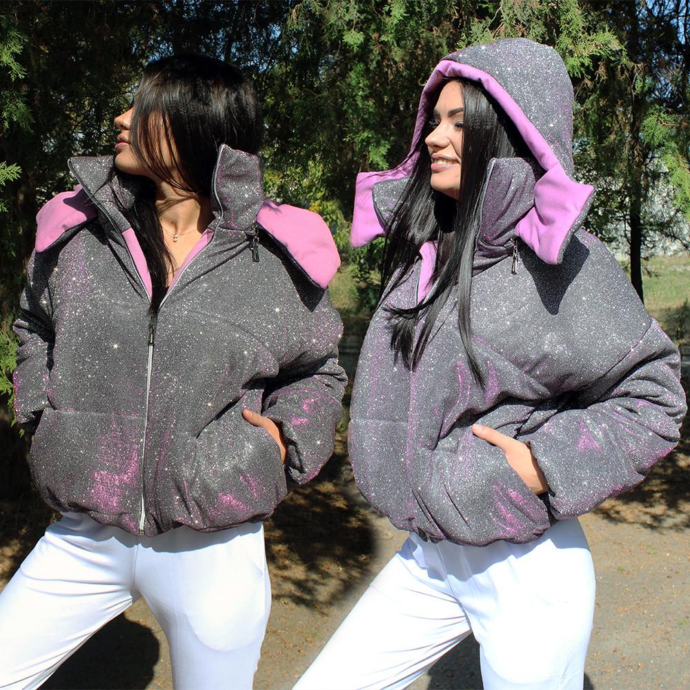 Короткая дутая куртка с голографическим напылением