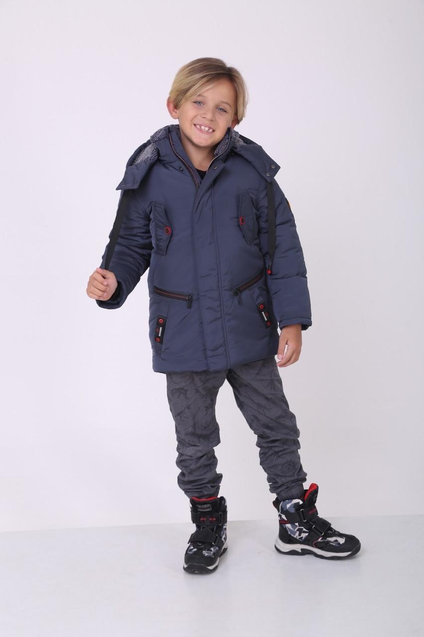 Зимняя куртка на мальчика  32-42 серый