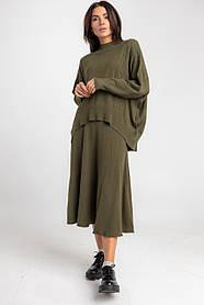 Приятный женский костюм оверсайз  c юбкой-миди в 5 цветах в размере 42-46