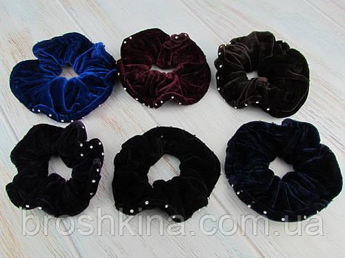 Резинки для волос Ø11 см  бархат/стразы 12 шт/уп.