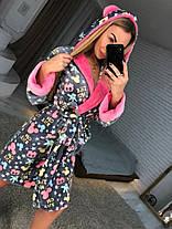 Красивый женский длинный халат с капюшоном серый c микки маусом, фото 3