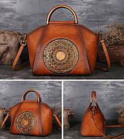 Эксклюзивная винтажная женская сумка с натуральной кожи