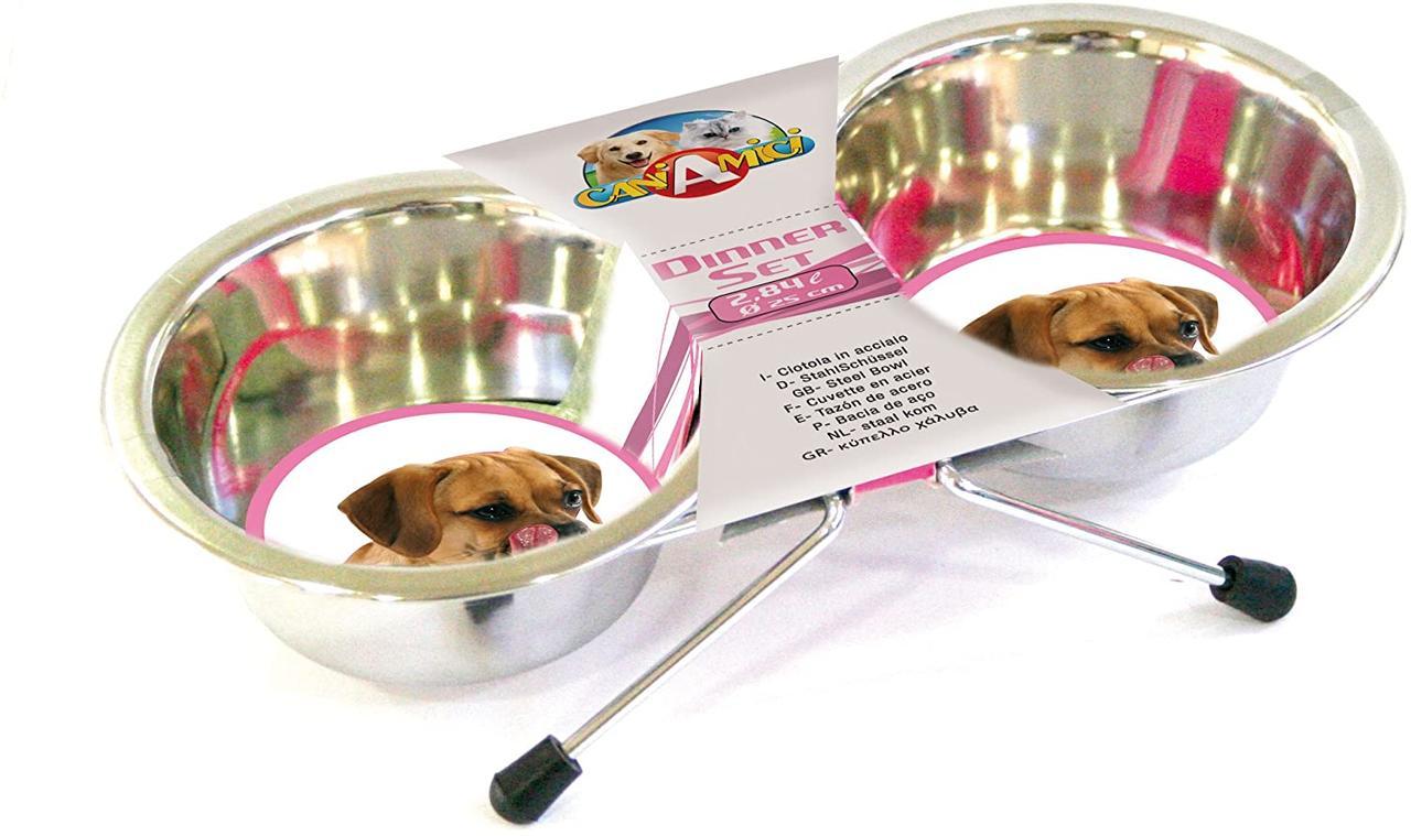 Миски для собак на подставке 2*0,95 л Croci (нержавейка)