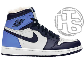 Женские кроссовки Air Jordan 1 Retro High Obsidian UNC White Blue (с мехом) 555088-140