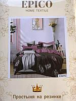 Комплект постельного белья двуспальный с простыней на резинке из ткани фланель