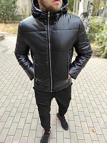 Чоловіча шкіряна куртка з капюшоном, чорна
