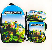 Шкільний Комплект 3 в 1 Minecraft: рюкзак, сумка пенал з героями гри Майнкрафт
