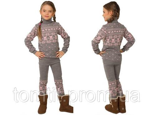 """КОСТЮМ детский шерстяной """"Степашка"""" (свитер + лосины), цвет серый, на рост 104 см, фото 2"""