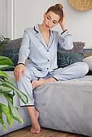 Женская пижама с рубашкой на длинный рукав и штанами серо-голубого цвета Зоряна
