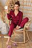 Женская пижама с рубашкой на длинный рукав и штанами бордового цвета Зоряна