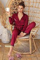 Женская пижама с рубашкой на длинный рукав и штанами бордового цвета Зоряна, фото 1