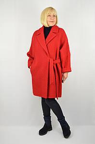 Пальто на запах рогожка красное - Модель Лира