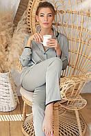 Женская пижама с рубашкой на длинный рукав оливкового цвета Зоряна, фото 1