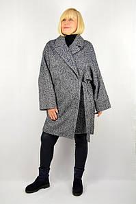 Пальто на запах рогожка синее - Модель Лира