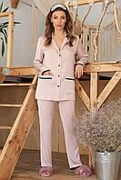 Женская пижама с рубашкой на длинный рукав и штанами пудрового цвета Зоряна