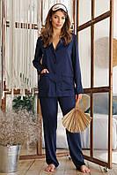 Женская пижама с рубашкой на длинный рукав и штанами синего цвета Зоряна, фото 1