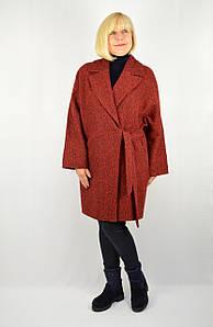 Пальто на запах твид бордовое - Модель Лира
