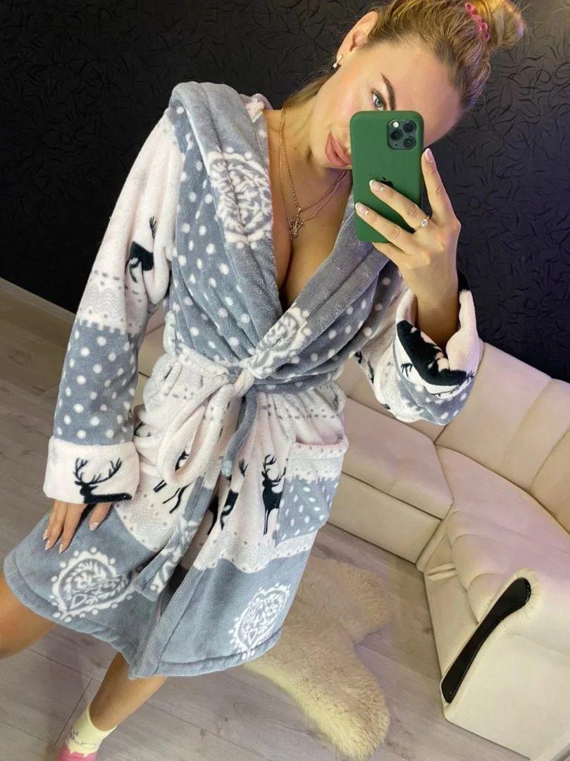 Женский плюшевый домашний халат с оленями
