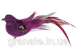 Декоративная птица на клипсе 17см (12 шт) Пурпурный