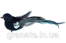 Декоративная птица на клипсе 17см (12 шт) бирюза
