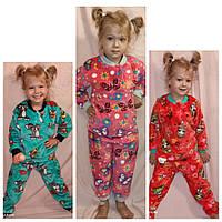 Пижама детская зимняя тёплая велсофт хлопок , махровая детская пижама мягкая
