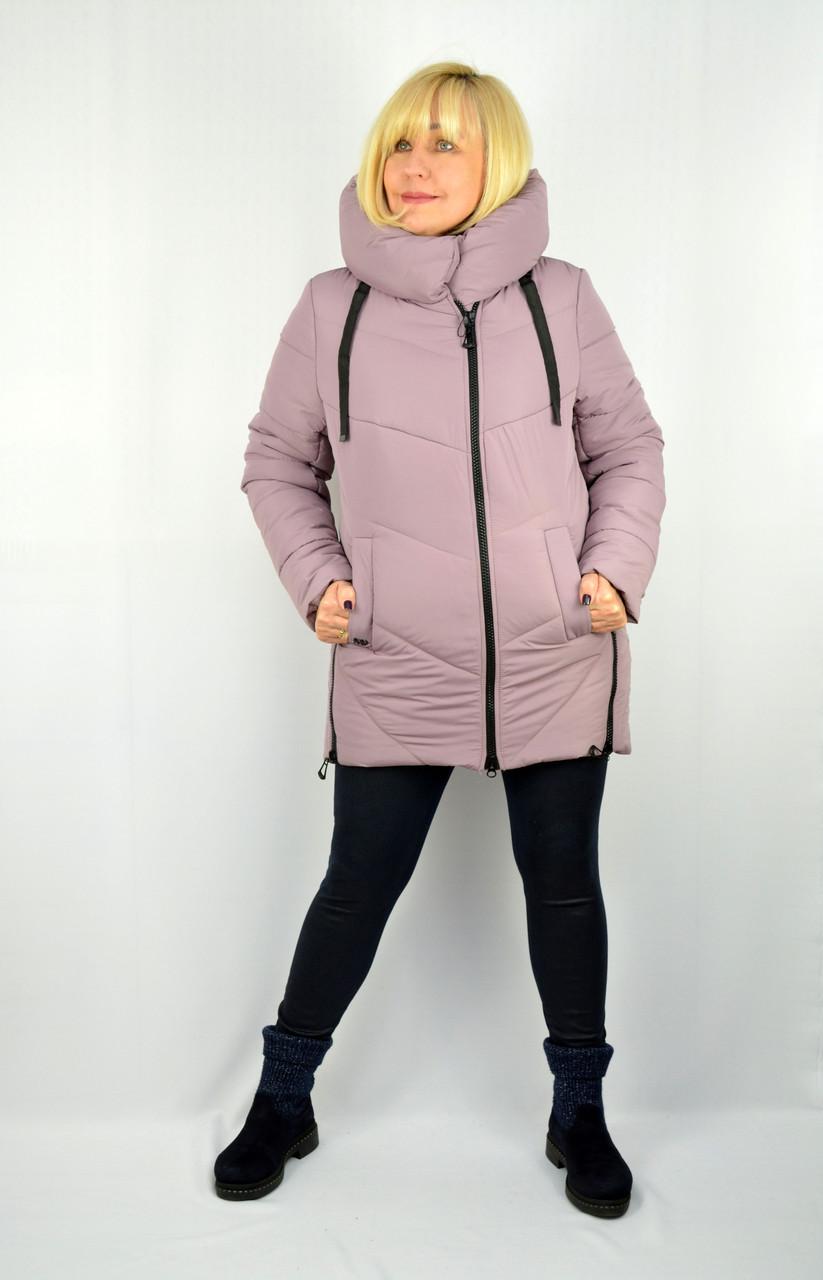 Куртка зимняя теплая с капюшоном пудра - Модель Х15