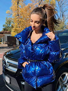 """Женская удлиненная куртка с эффектом """"кошачий глаз"""" синий электрик (полная предоплата)"""