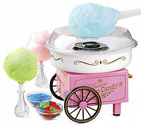 Аппарат для приготовления сладкой ваты на колесиках Cotton candy maker Розовый