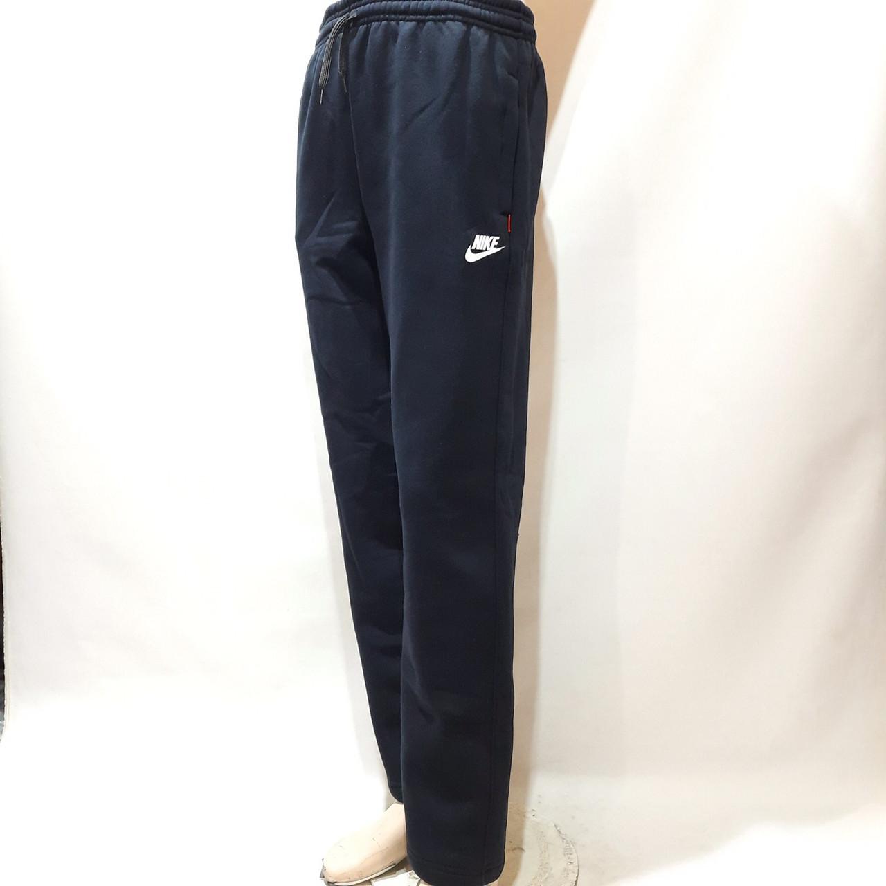 Чоловічі теплі спортивні штани прямі Темно-сині