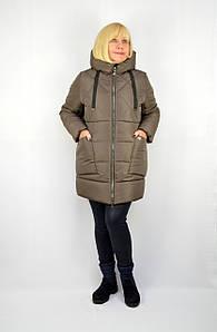 Куртка зимняя теплая с капюшоном коричневая - Модель Х16