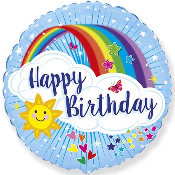 Шар круглый фольгированный детский с надписью  Happy Birthday 45 см Flexmetal (Испания)