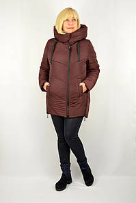 Куртка зимняя теплая с капюшоном бордовый - Модель Х17