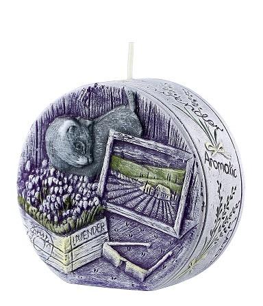 Свічка диск ароматична лаванда 9.5 см
