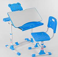 Многофункциональная парта трансформер голубая   Регулируемые: угол наклона столешницы, высота парты и сиденья