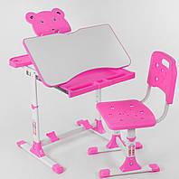 Многофункциональная парта трансформер розовая   Регулируемые: угол наклона столешницы, высота парты и сиденья