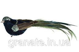 Декоративная птица на клипсе 19см (12шт) бирюзово - зеленный