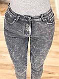 Мраморные теплые женские джинсы на флисе New jeans 31-557, фото 3