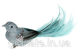 Декоративная птица на клипсе 20см (12шт) мятный