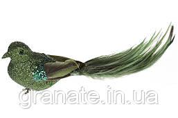 Декоративная птица на клипсе 20см (12шт) зеленый