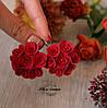 """Красные серьги цветы из полимерной глины """"Красные круговые розы"""""""