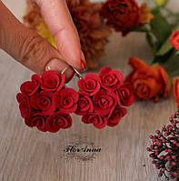"""Красные серьги цветы из полимерной глины """"Красные круговые розы"""", фото 1"""