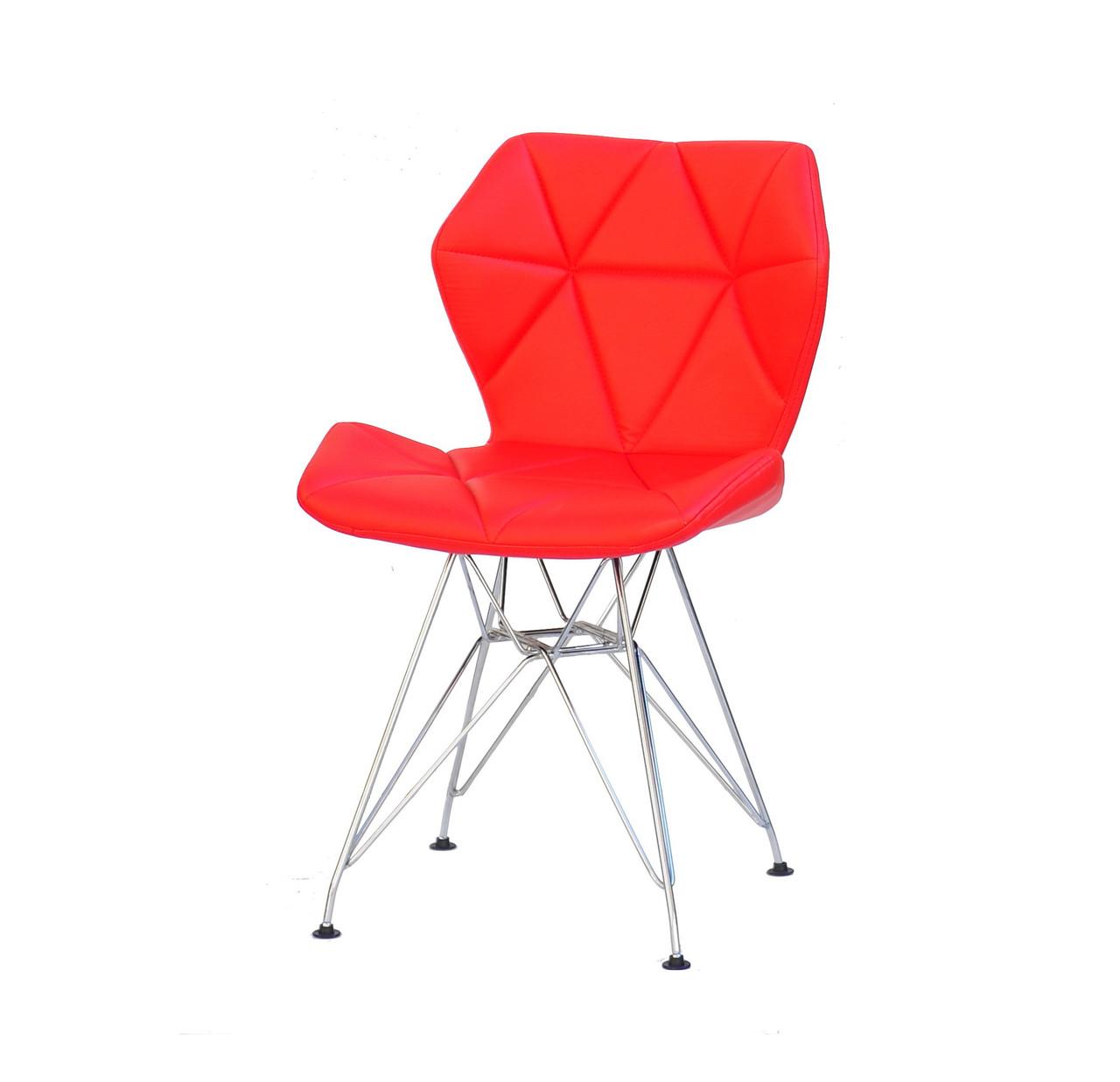 Червоний стильний і сучасний сірий стілець еко-шкіра Greg CH-ML на металевих ніжках