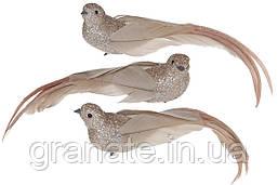 Декоративная птица Голубь на клипсе 22см (12шт) бежевый