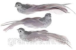 Декоративная птица Голубь на клипсе 22см (12шт) серебристо - серый