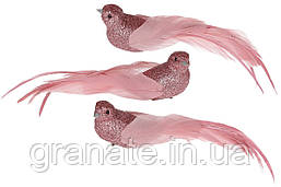 Декоративная птица Голубь на клипсе 22см (12шт) темно -розовый