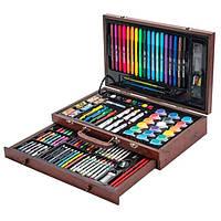 Большой детский набор юного художника для рисования и творчества в деревянном чемодане Tool Kit 123 предмета