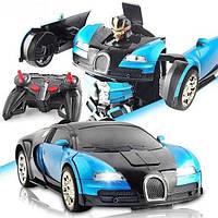 Машинка трансформер на радиоуправлении Bugatti Veyron Robot Car RC 1:18 радиоуправляемая машина аккумулятор