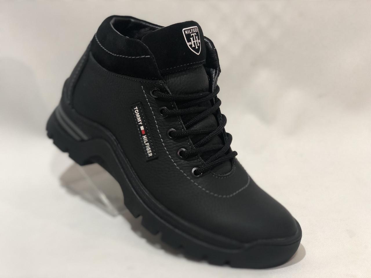 Мужские зимние кожаные ботинки. Кроссовки зимние на меху Черные