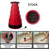 Мощный ручной воздушный фильтр для слива воды для ванной комнаты Clog Cannon Высокое давлениею., фото 1