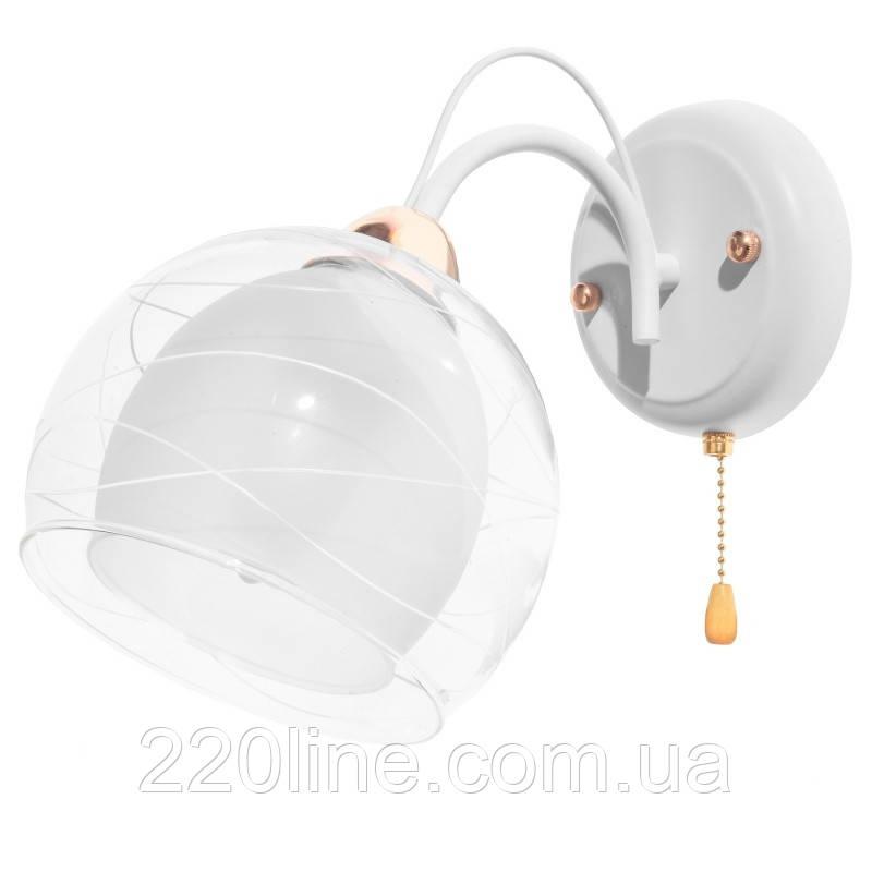 Бра настенное накладное шар LK-629W/1 E27 WT+FG